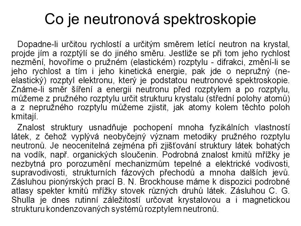 Co je neutronová spektroskopie Dopadne-li určitou rychlostí a určitým směrem letící neutron na krystal, projde jím a rozptýlí se do jiného směru. Jest