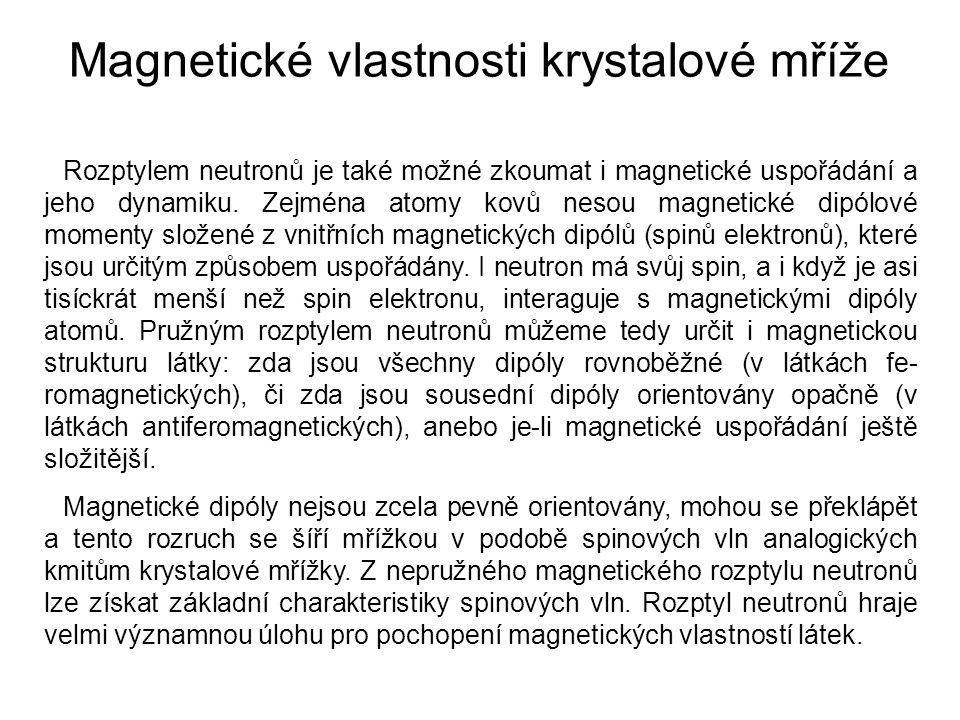 Rozptylem neutronů je také možné zkoumat i magnetické uspořádání a jeho dynamiku. Zejména atomy kovů nesou magnetické dipólové momenty složené z vnitř