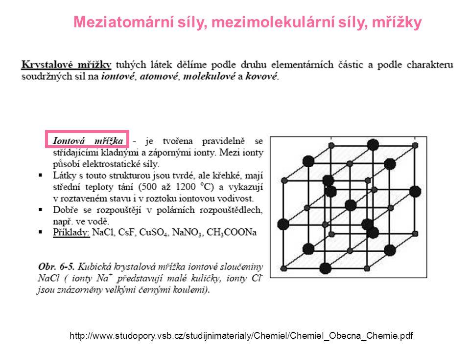 Meziatomární síly, mezimolekulární síly, mřížky http://www.studopory.vsb.cz/studijnimaterialy/ChemieI/ChemieI_Obecna_Chemie.pdf