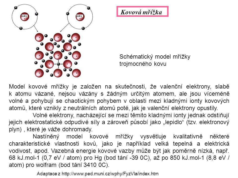 Model kovové mřížky je založen na skutečnosti, že valenční elektrony, slabě k atomu vázané, nejsou vázány s žádným určitým atomem, ale jsou víceméně volné a pohybují se chaotickým pohybem v oblasti mezi kladnými ionty kovových atomů, které vznikly z neutrálních atomů poté, jak je valenční elektrony opustily.