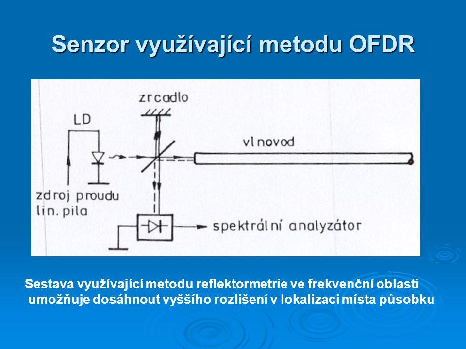 Senzor využívající metodu OFDR Sestava využívající metodu reflektormetrie ve frekvenční oblasti umožňuje dosáhnout vyššího rozlišení v lokalizaci míst