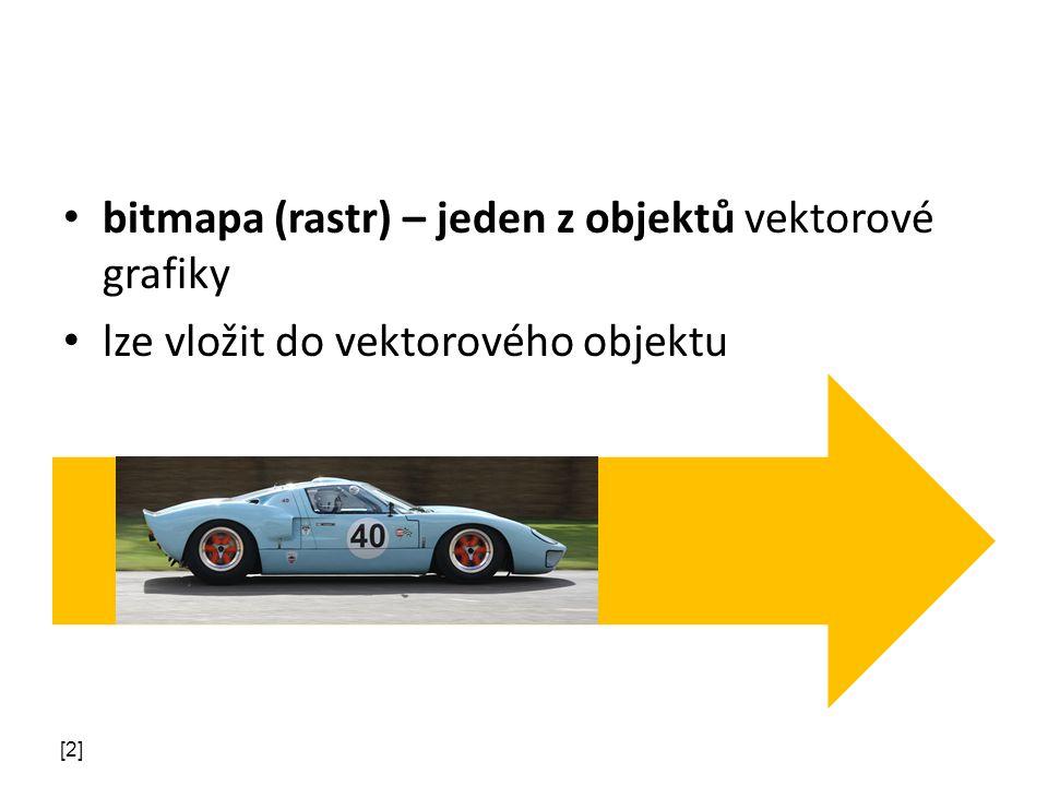 bitmapa (rastr) – jeden z objektů vektorové grafiky lze vložit do vektorového objektu [2]