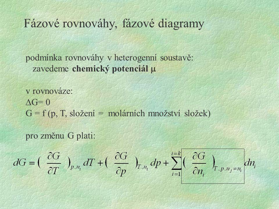 Fázové rovnováhy, fázové diagramy podmínka rovnováhy v heterogenní soustavě: zavedeme chemický potenciál  v rovnováze:  G= 0 G = f (p, T, složení =