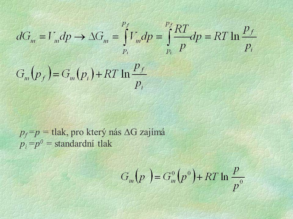 p f =p = tlak, pro který nás  G zajímá p i =p 0 = standardní tlak