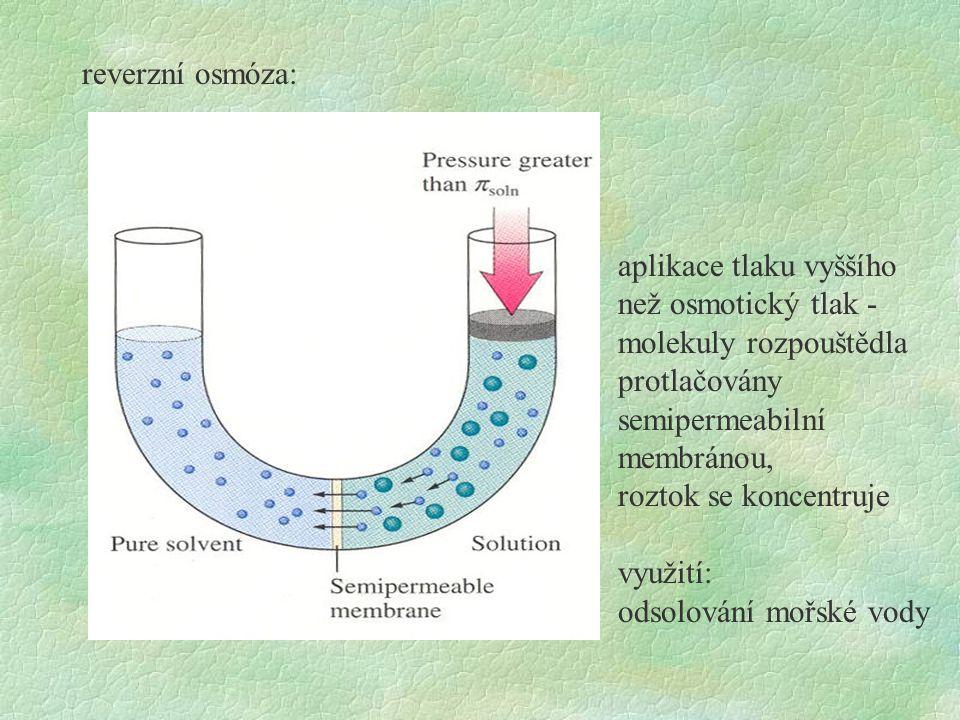 reverzní osmóza: aplikace tlaku vyššího než osmotický tlak - molekuly rozpouštědla protlačovány semipermeabilní membránou, roztok se koncentruje využi