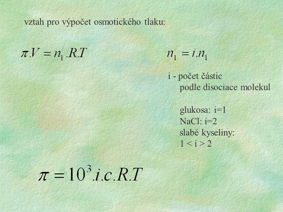 vztah pro výpočet osmotického tlaku: i - počet částic podle disociace molekul glukosa: i=1 NaCl: i=2 slabé kyseliny: 1 2
