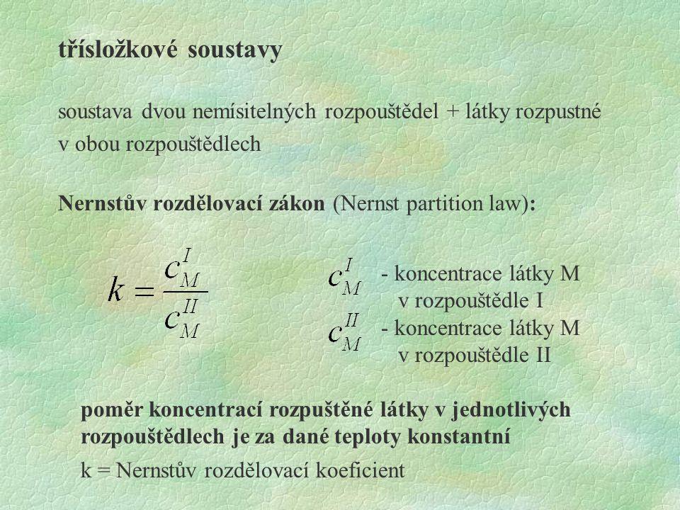 třísložkové soustavy soustava dvou nemísitelných rozpouštědel + látky rozpustné v obou rozpouštědlech Nernstův rozdělovací zákon (Nernst partition law