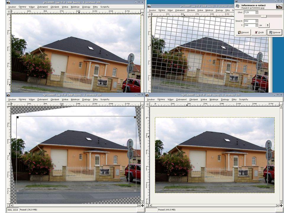 Rovnání křivě nafocených fotografií  Při použití popisované techniky narovnání, je třeba počítat s tím, že na výsledném obrázku bude chybět část okrajů z originálního obrázku.