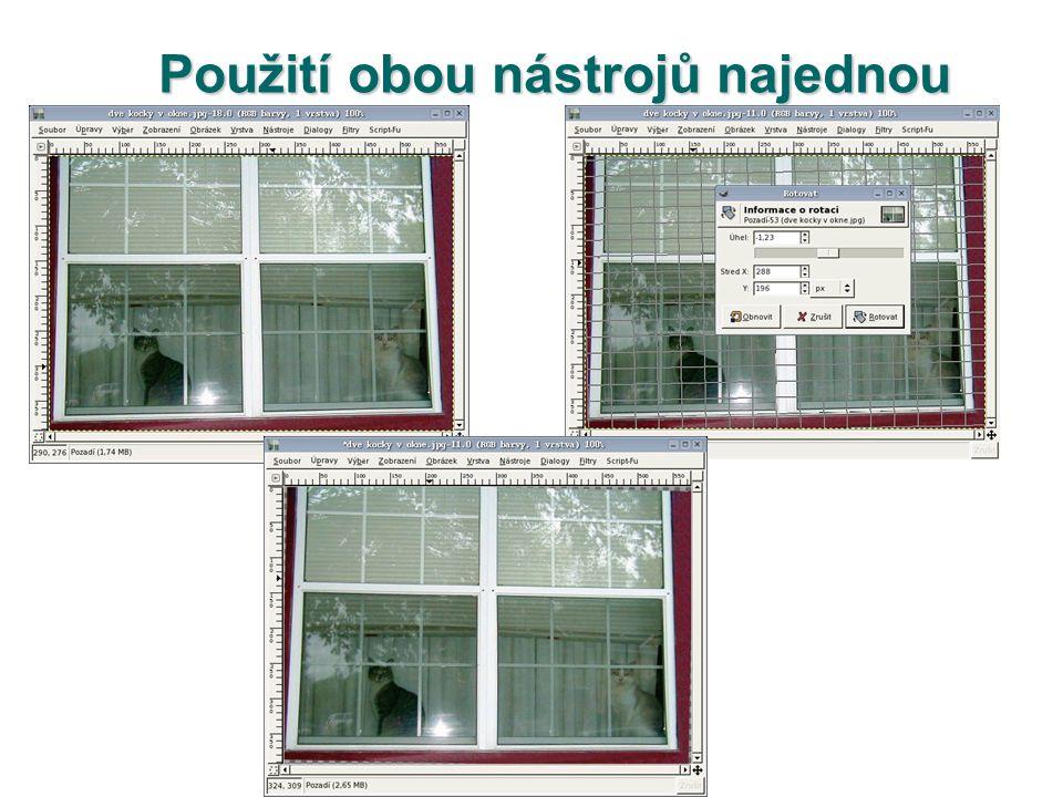  Zkusme narovnat fotografii okna s kočkami.Nejprve srovnáme horizont (viz.