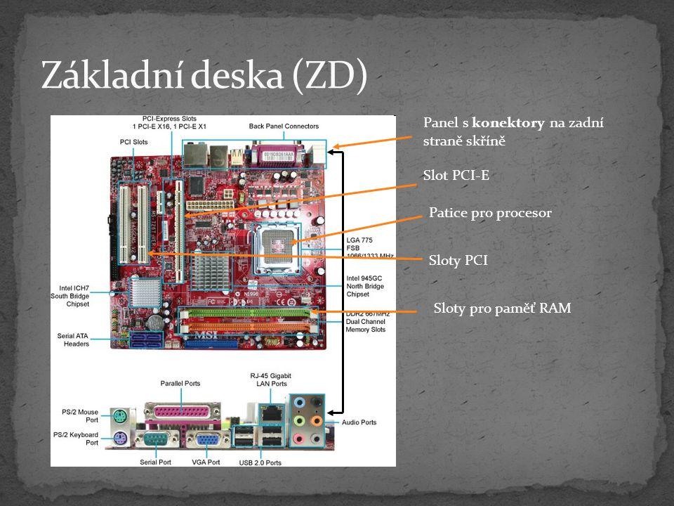 SSD – Solid State Disk uložení data na flash paměť neobsahuje pohyblivé mechanické části Výhody nižší spotřeba elektrické energie vyšší přenosová rychlost nenáchylné na nárazy a otřesy jako mechanické disky nehlučné Nevýhody vyšší cena (128 GB – cca 10 000,- polovina roku 2010)