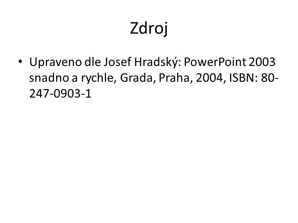 Zdroj Upraveno dle Josef Hradský: PowerPoint 2003 snadno a rychle, Grada, Praha, 2004, ISBN: 80- 247-0903-1