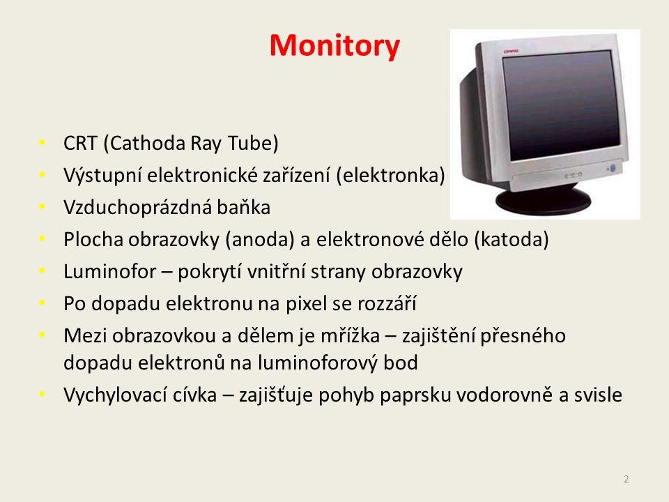 Monitory CRT (Cathoda Ray Tube) Výstupní elektronické zařízení (elektronka) Vzduchoprázdná baňka Plocha obrazovky (anoda) a elektronové dělo (katoda) Luminofor – pokrytí vnitřní strany obrazovky Po dopadu elektronu na pixel se rozzáří Mezi obrazovkou a dělem je mřížka – zajištění přesného dopadu elektronů na luminoforový bod Vychylovací cívka – zajišťuje pohyb paprsku vodorovně a svisle 2