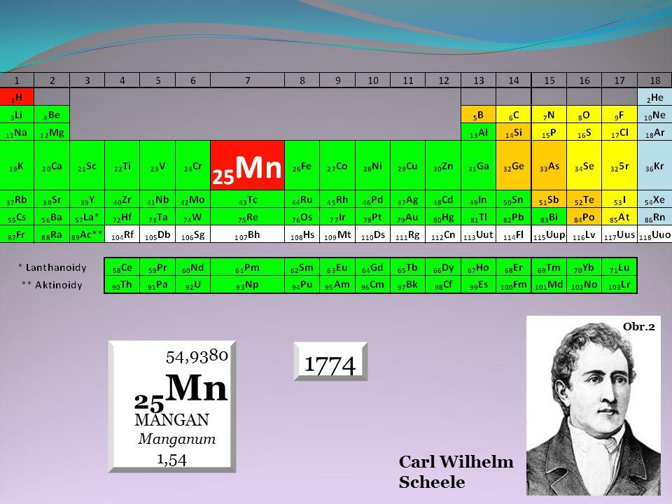 1774 54,9380 25 Mn MANGAN Manganum 1,54 Carl Wilhelm Scheele Obr.2
