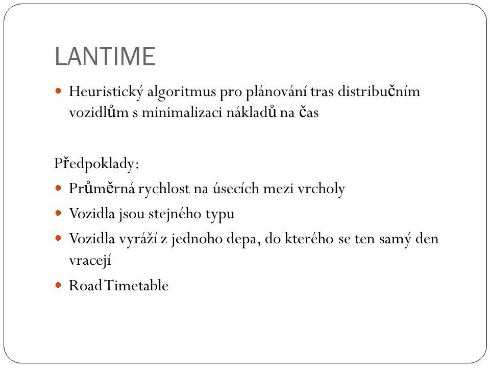 LANTIME Heuristický algoritmus pro plánování tras distribu č ním vozidl ů m s minimalizaci náklad ů na č as P ř edpoklady: Pr ů m ě rná rychlost na úsecích mezi vrcholy Vozidla jsou stejného typu Vozidla vyráží z jednoho depa, do kterého se ten samý den vracejí Road Timetable