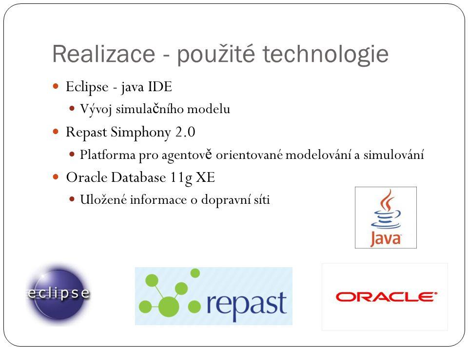 Realizace - použité technologie Eclipse - java IDE Vývoj simula č ního modelu Repast Simphony 2.0 Platforma pro agentov ě orientované modelování a simulování Oracle Database 11g XE Uložené informace o dopravní síti