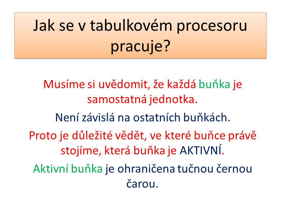 Jak se v tabulkovém procesoru pracuje? Musíme si uvědomit, že každá buňka je samostatná jednotka. Není závislá na ostatních buňkách. Proto je důležité