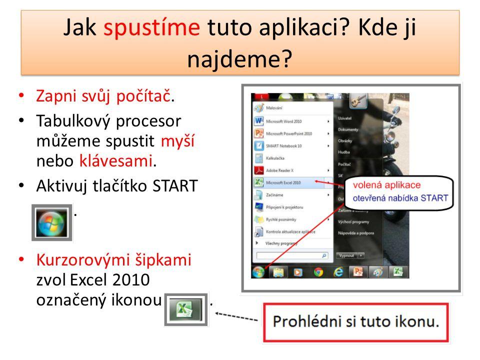 Jak spustíme tuto aplikaci? Kde ji najdeme? Zapni svůj počítač. Tabulkový procesor můžeme spustit myší nebo klávesami. Aktivuj tlačítko START. Kurzoro