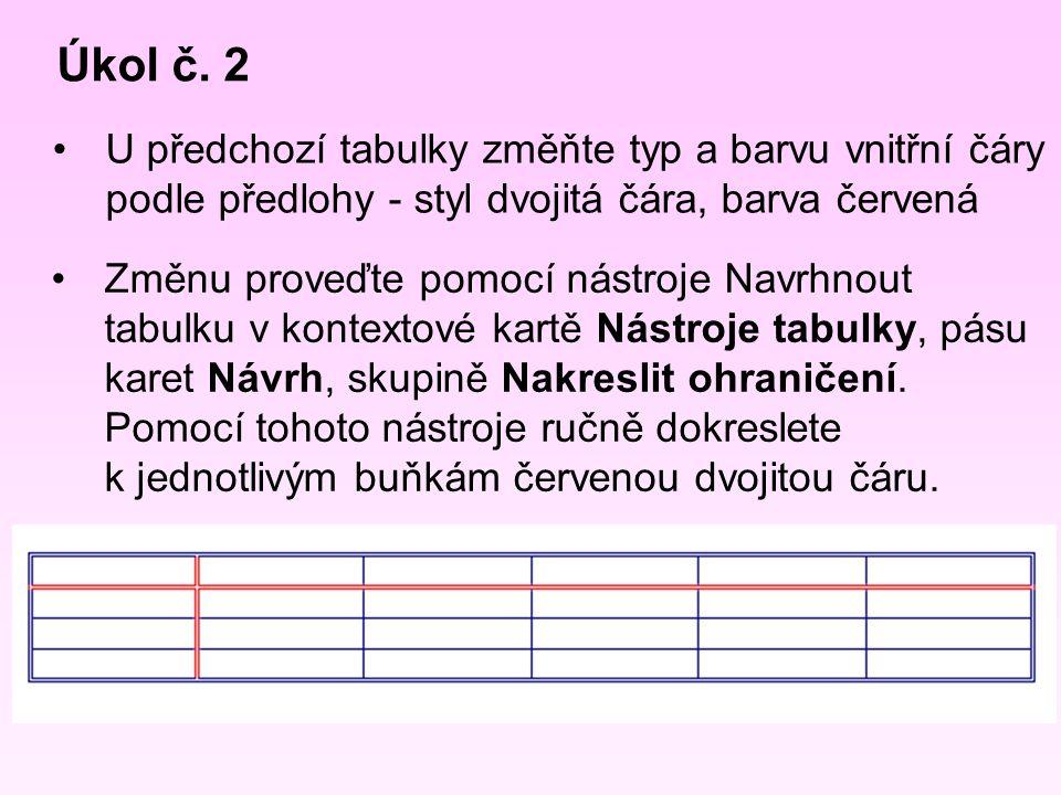 Úkol č. 2 U předchozí tabulky změňte typ a barvu vnitřní čáry podle předlohy - styl dvojitá čára, barva červená Změnu proveďte pomocí nástroje Navrhno