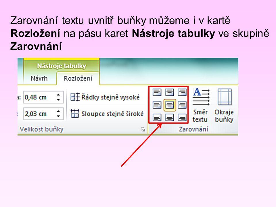 Zarovnání textu uvnitř buňky můžeme i v kartě Rozložení na pásu karet Nástroje tabulky ve skupině Zarovnání