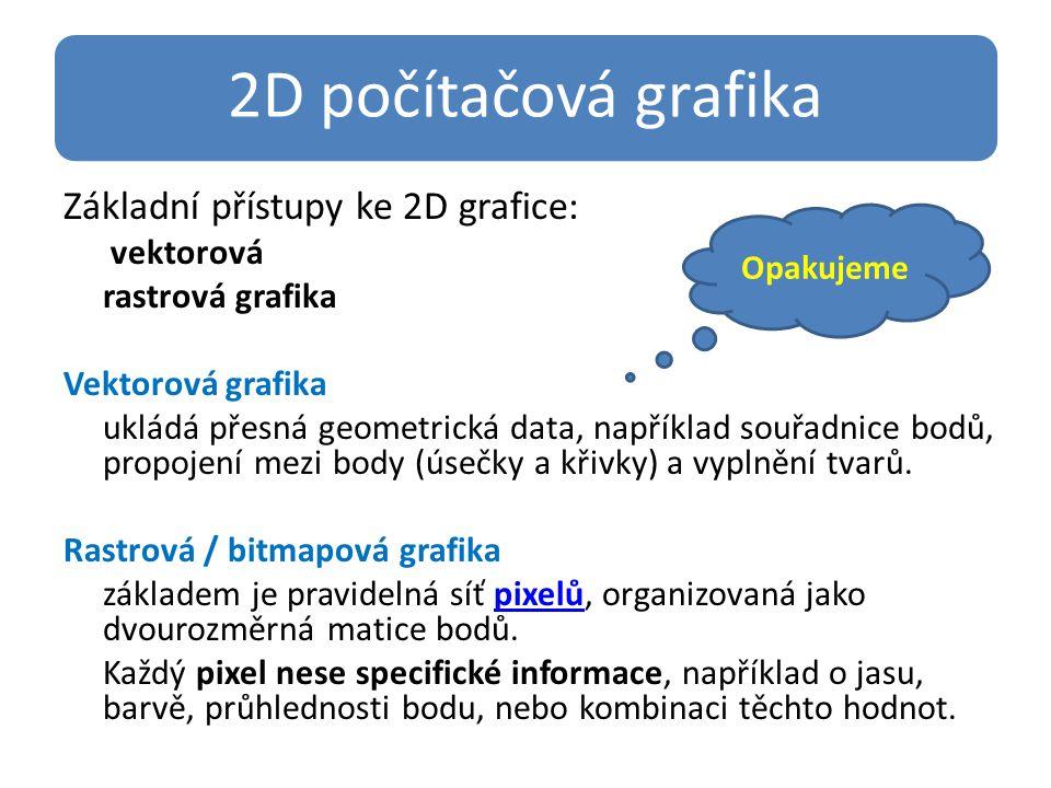 2D počítačová grafika Základní přístupy ke 2D grafice: vektorová rastrová grafika Vektorová grafika ukládá přesná geometrická data, například souřadnice bodů, propojení mezi body (úsečky a křivky) a vyplnění tvarů.