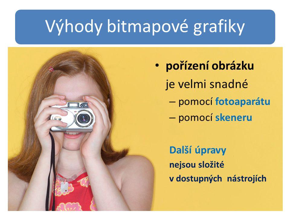 Výhody bitmapové grafiky pořízení obrázku je velmi snadné – pomocí fotoaparátu – pomocí skeneru Další úpravy nejsou složité v dostupných nástrojích