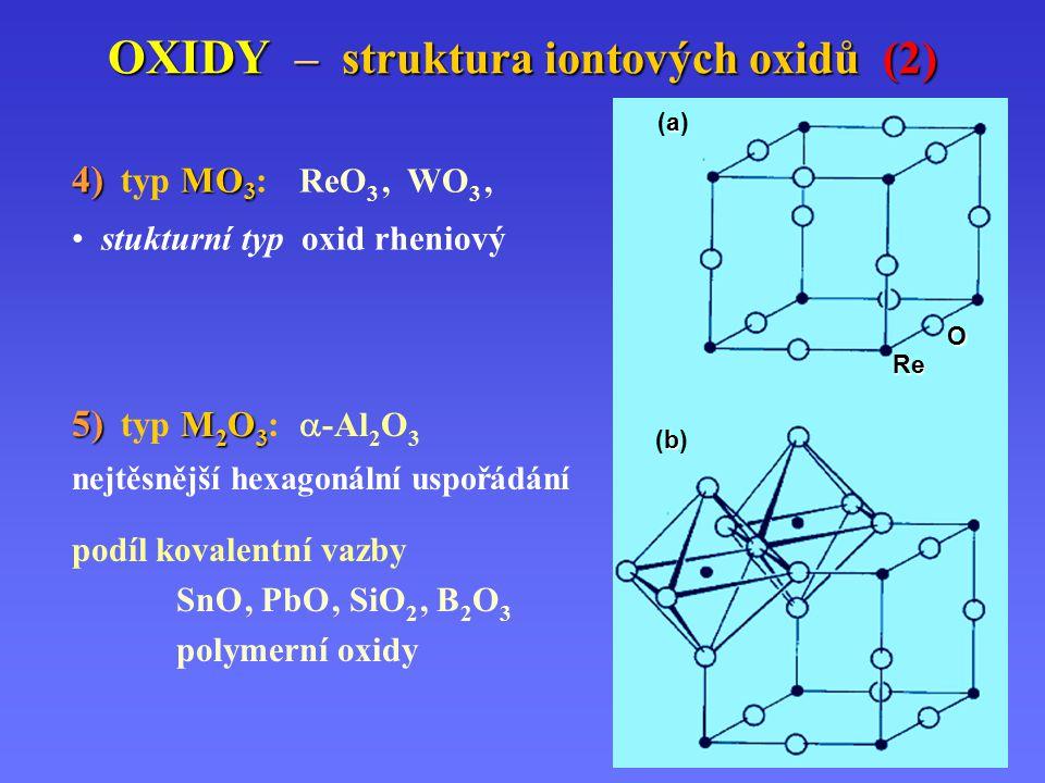 OXIDY – struktura iontových oxidů (2) 4) MO 3 4) typ MO 3 : ReO 3, WO 3, stukturní typ oxid rheniový 5) M 2 O 3 5) typ M 2 O 3 :  -Al 2 O 3 nejtěsnější hexagonální uspořádání podíl kovalentní vazby SnO, PbO, SiO 2, B 2 O 3 polymerní oxidy Re O b(b)b(b) a(a)a(a)