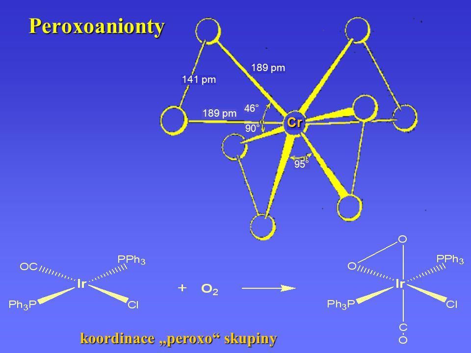"Peroxoanionty koordinace ""peroxo skupiny Cr 189 pm 141 pm 46° 90° 95°"
