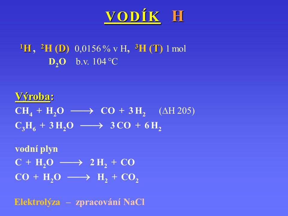 V O D Í K H V O D Í K H Výroba: CH 4 + H 2 O  CO + 3 H 2 (  H 205) C 3 H 6 + 3 H 2 O  3 CO + 6 H 2.