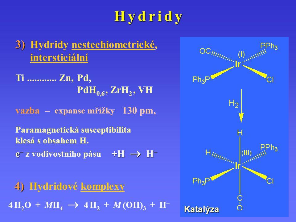 H y d r i d yH y d r i d yH y d r i d yH y d r i d y 3) 3) Hydridy nestechiometrické, intersticiální Ti............