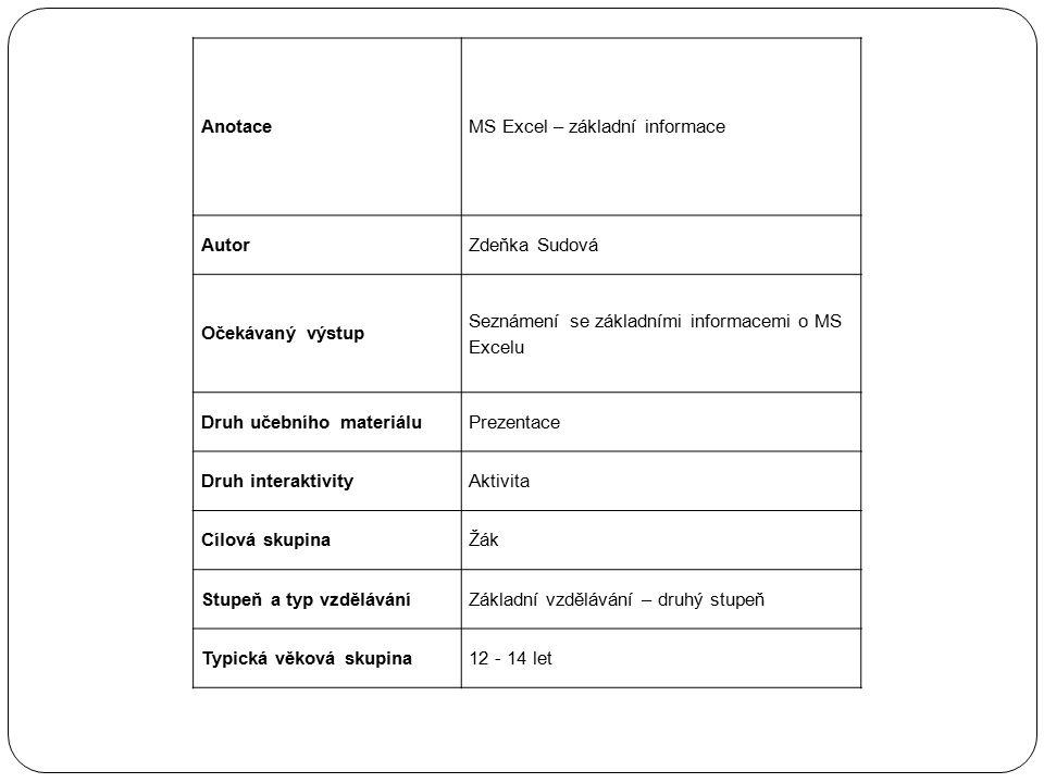 AnotaceMS Excel – základní informace AutorZdeňka Sudová Očekávaný výstup Seznámení se základními informacemi o MS Excelu Druh učebního materiáluPrezen