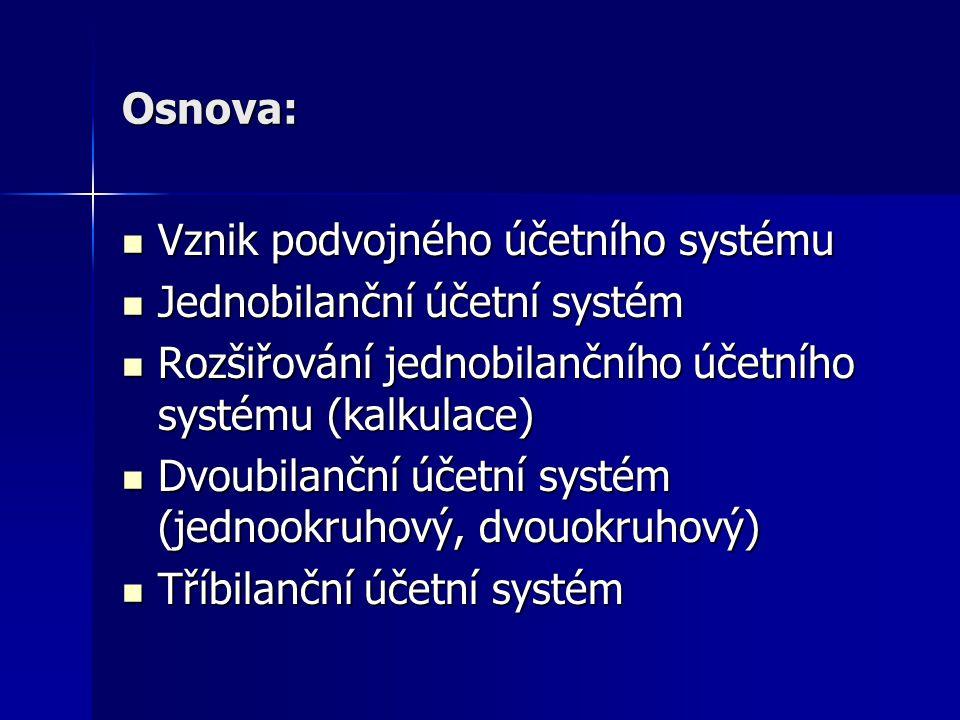 Osnova: Vznik podvojného účetního systému Vznik podvojného účetního systému Jednobilanční účetní systém Jednobilanční účetní systém Rozšiřování jednob