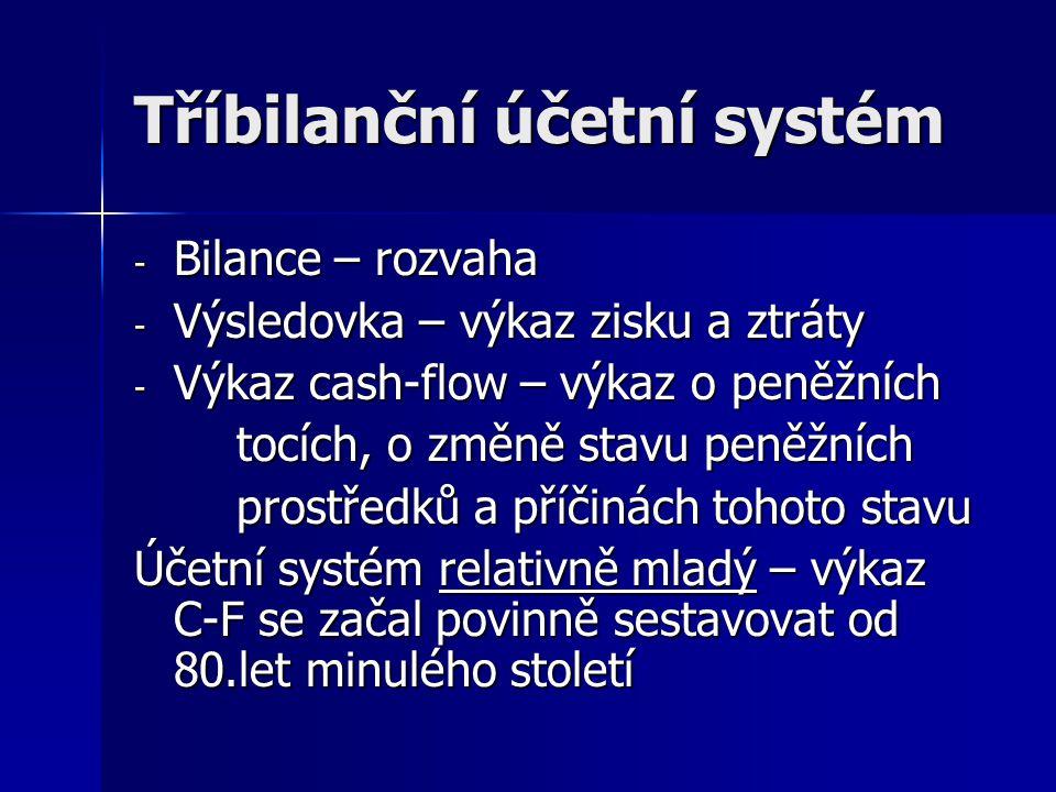 Tříbilanční účetní systém - Bilance – rozvaha - Výsledovka – výkaz zisku a ztráty - Výkaz cash-flow – výkaz o peněžních tocích, o změně stavu peněžníc