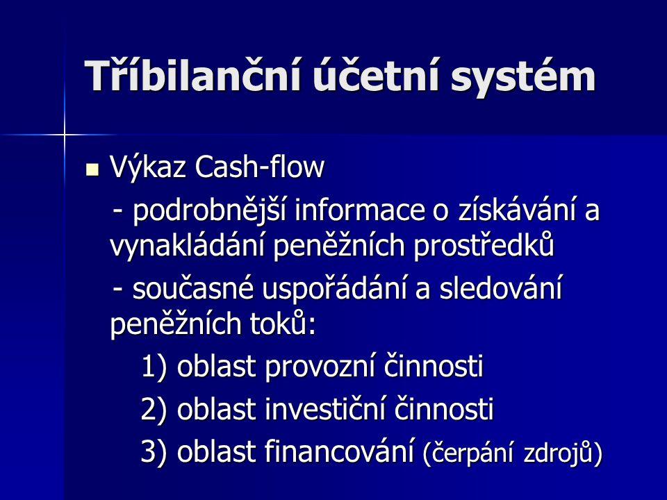 Tříbilanční účetní systém Výkaz Cash-flow Výkaz Cash-flow - podrobnější informace o získávání a vynakládání peněžních prostředků - podrobnější informa