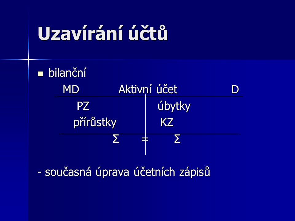 Uzavírání účtů nebilanční nebilanční MD Aktivní účet D MD Aktivní účet D PZ úbytky PZ úbytky přírůstky přírůstky KZ KZ (- podobně i na pasivních účtech)