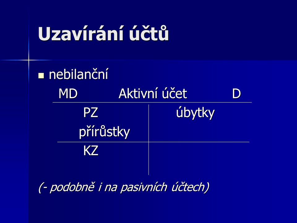 Uzavírání účtů nebilanční nebilanční MD Aktivní účet D MD Aktivní účet D PZ úbytky PZ úbytky přírůstky přírůstky KZ KZ (- podobně i na pasivních účtec