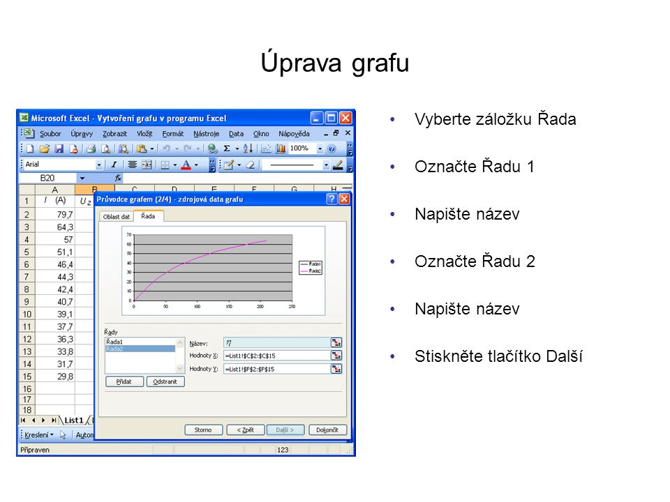 Úprava grafu Vyberte záložku Řada Označte Řadu 1 Napište název P Stiskněte tlačítko Další Označte Řadu 2 Napište název 