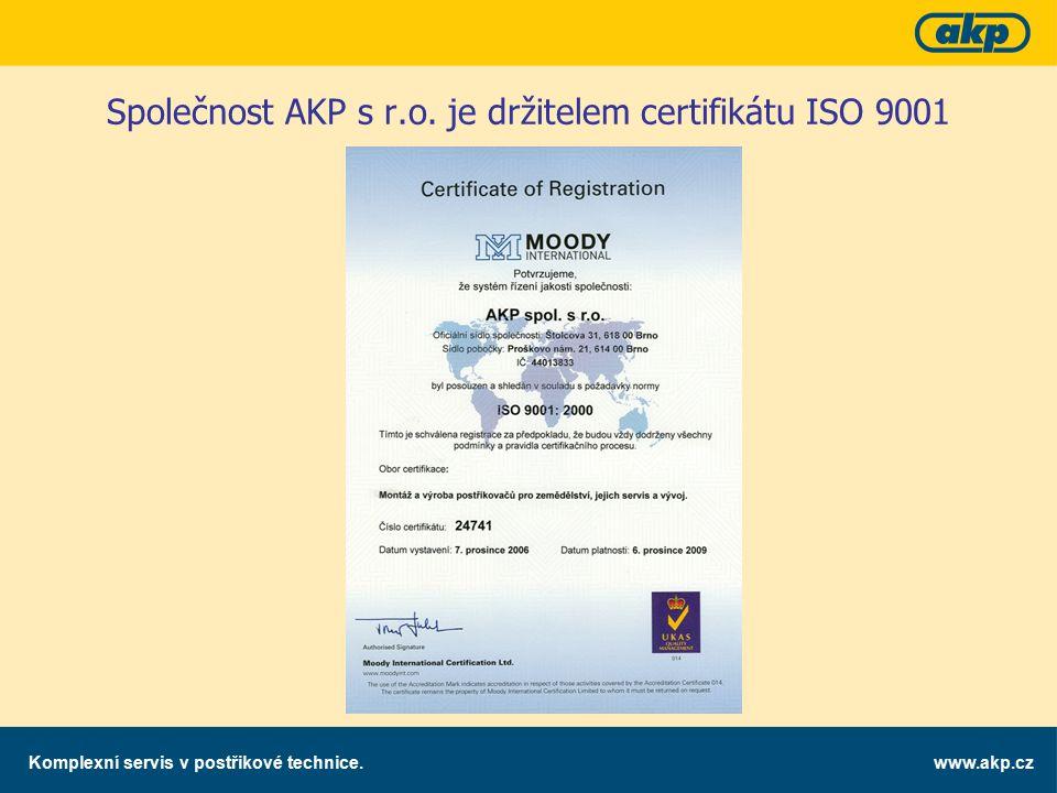 www.akp.czKomplexní servis v postřikové technice. Společnost AKP s r.o. je držitelem certifikátu ISO 9001