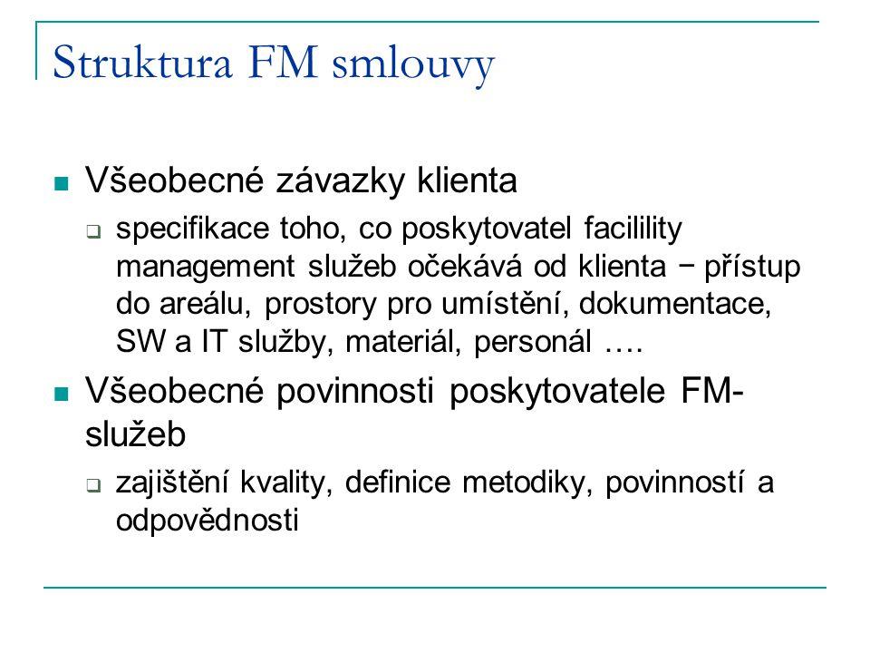 Struktura FM smlouvy Všeobecné závazky klienta  specifikace toho, co poskytovatel facilility management služeb očekává od klienta − přístup do areálu