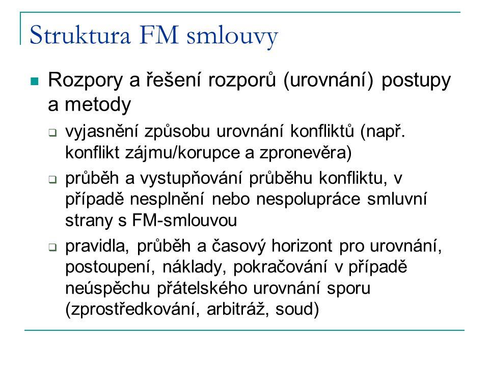 Struktura FM smlouvy Rozpory a řešení rozporů (urovnání) postupy a metody  vyjasnění způsobu urovnání konfliktů (např. konflikt zájmu/korupce a zpron