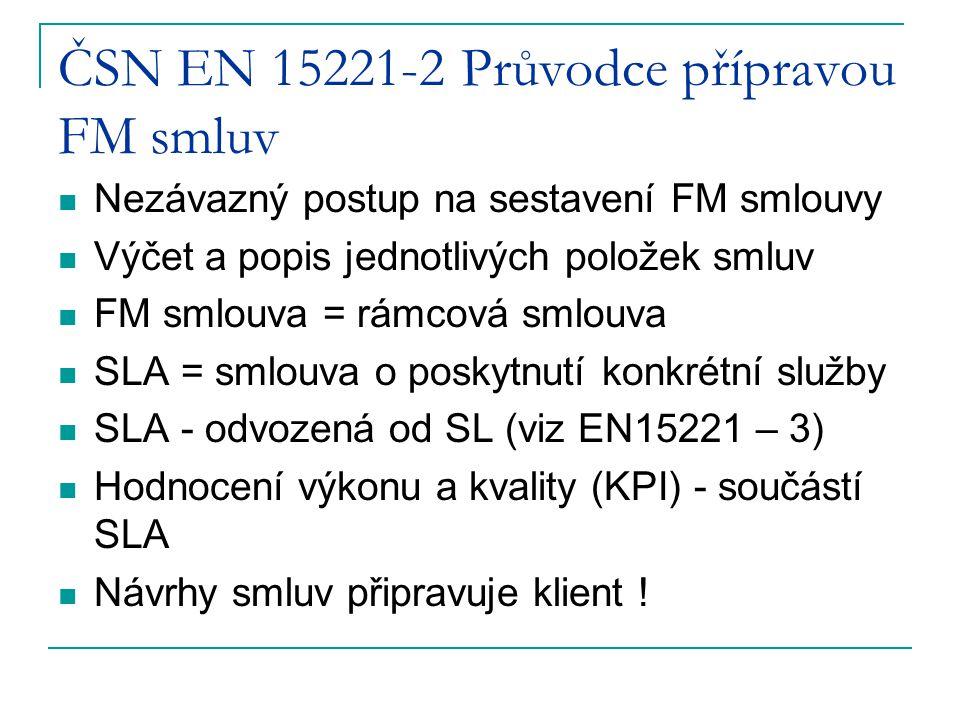 ČSN EN 15221-2 Průvodce přípravou FM smluv Nezávazný postup na sestavení FM smlouvy Výčet a popis jednotlivých položek smluv FM smlouva = rámcová smlo