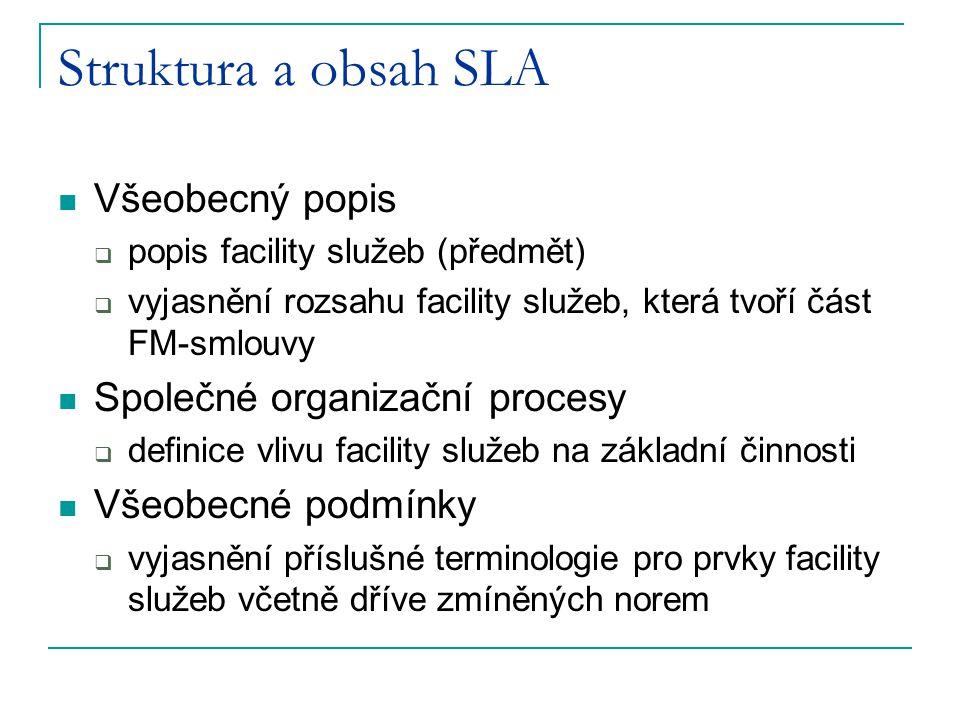 Struktura a obsah SLA Všeobecný popis  popis facility služeb (předmět)  vyjasnění rozsahu facility služeb, která tvoří část FM-smlouvy Společné orga