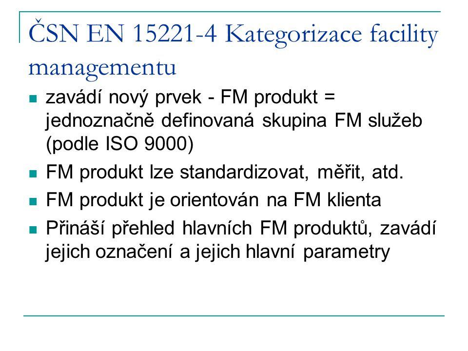 ČSN EN 15221-4 Kategorizace facility managementu zavádí nový prvek - FM produkt = jednoznačně definovaná skupina FM služeb (podle ISO 9000) FM produkt