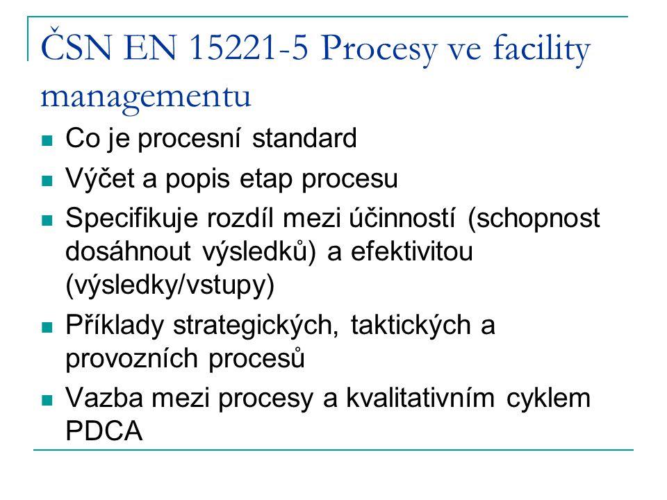 ČSN EN 15221-5 Procesy ve facility managementu Co je procesní standard Výčet a popis etap procesu Specifikuje rozdíl mezi účinností (schopnost dosáhno