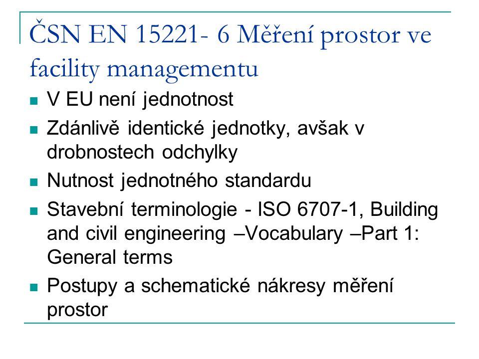 ČSN EN 15221- 6 Měření prostor ve facility managementu V EU není jednotnost Zdánlivě identické jednotky, avšak v drobnostech odchylky Nutnost jednotné
