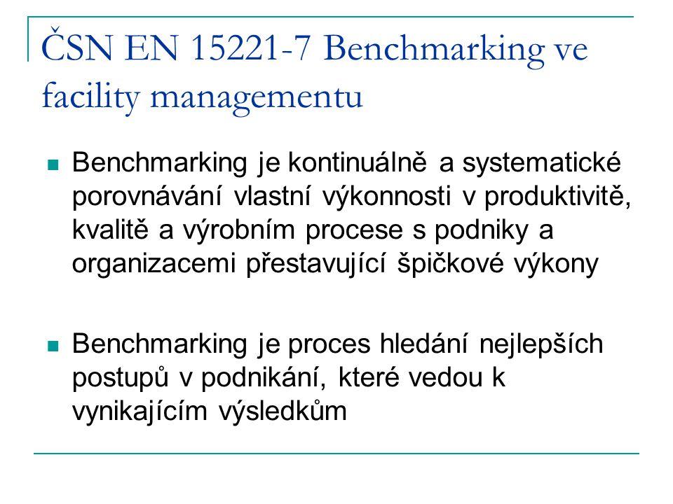 ČSN EN 15221-7 Benchmarking ve facility managementu Benchmarking je kontinuálně a systematické porovnávání vlastní výkonnosti v produktivitě, kvalitě