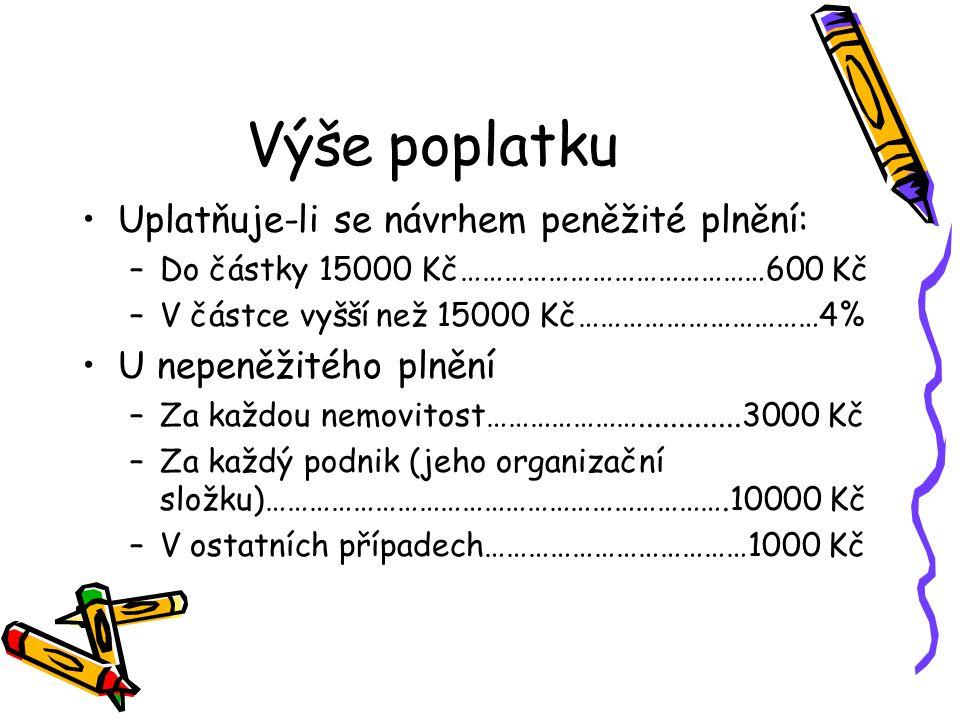 Výše poplatku Uplatňuje-li se návrhem peněžité plnění: –Do částky 15000 Kč……………………………………600 Kč –V částce vyšší než 15000 Kč……………………………4% U nepeněžitého plnění –Za každou nemovitost………………….............3000 Kč –Za každý podnik (jeho organizační složku)……………………………………………………….10000 Kč –V ostatních případech………………………………1000 Kč