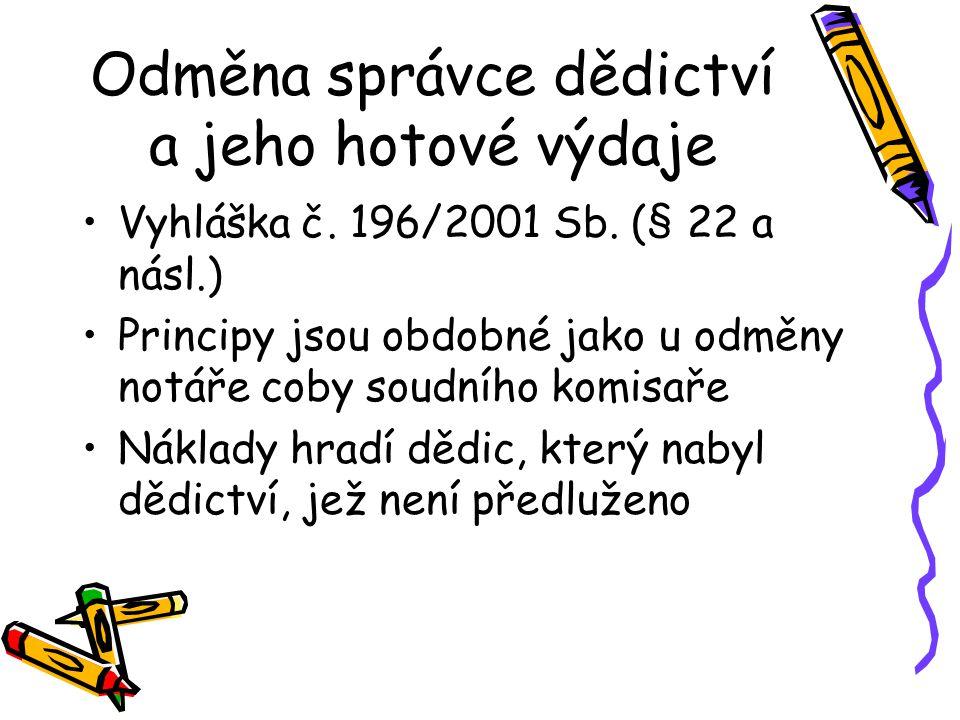 Odměna správce dědictví a jeho hotové výdaje Vyhláška č.