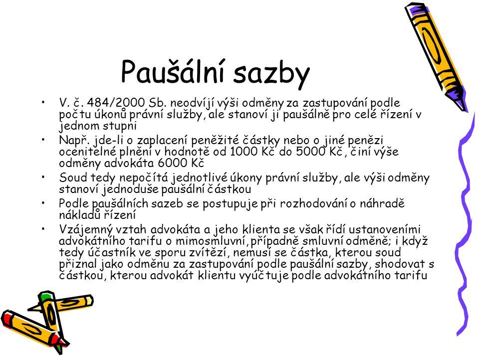 Paušální sazby V.č. 484/2000 Sb.