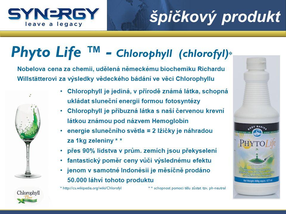 Chlorophyll (chlorofyl): zázrak přírody -odkyseluje tělo -působí při tvorbě krve -působí při čištění krve -transportuje kyslík do těla -působí při regulaci krevního tlaku -pomáhá při stavbě cel -neutralizuje kyselo-basický poměr -reguluje a podporuje zažívání -podporuje duševní zdraví -přiostřuje koncentraci -posiluje játra Chlorophyll O co větší je příjem zelených substancí, o to optimálnější je enzymatická vazba kyslíku a sama funk- ce látkové výměny.