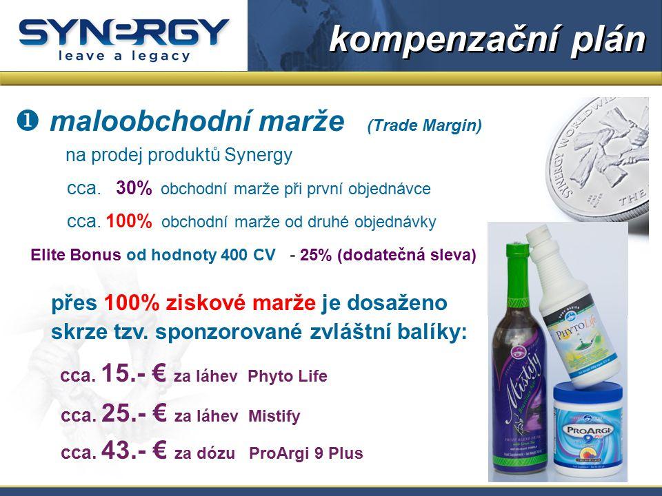  maloobchodní marže (Trade Margin) na prodej produktů Synergy cca. 30% obchodní marže při první objednávce cca. 100% obchodní marže od druhé objednáv